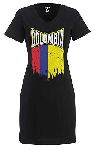 Torn Colombia Flag - Latino Heritage Women's Nightshirt (Black, Small/Medium)