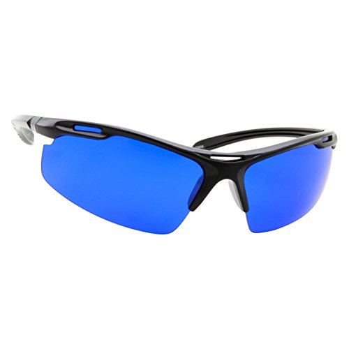 Golf Ball Finder Locating Glasses - Sports Style Blue Lens Sunglasses for Men (Black) -