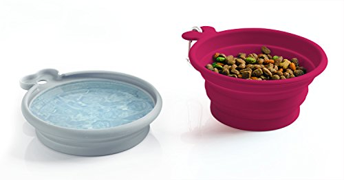 Jobar International Pet Parade Pop-up Food & Water Bowl Set - Travel Friendly Pet Bowl - Collapsible & Interlocking Design - For Water and Food - Portable Use by Jobar International