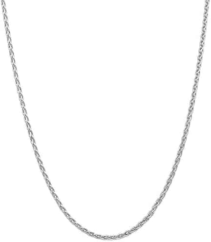 ICE CARATS 14k White Gold 3mm Parisian Link Wheat Chain Necklace 16 Inch Spiga Fine Jewelry Gift Valentine Day Set For Women Heart