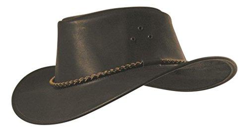 KakaduTraders Australia Classic Kakadu Packer Leather Hat With Round hatband - Kakadu Leather Hat