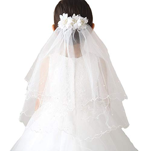 White/Ivory Flower Girl Veils Two Layers White First Communion Hair Accessories Ivory 75cm ()