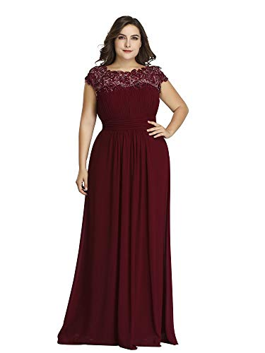 Ever-Pretty Womens Plus Size Long Maxi Formal Dance Evening Dresses Burgundy US 20