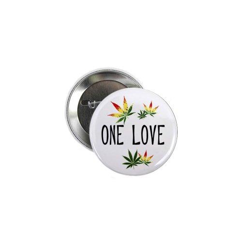One Love Marijuana Pot Leaf 100-Pack 2.25 inch Pinback Bu...