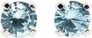 TINY 3mm Aqua Blue Aquamarine Gemstone Stud Earrings in Sterling Silver - March Birthstone