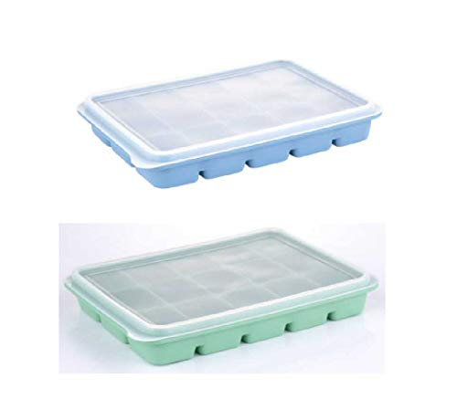 Ice Cube Trays with Lids, Ozera 2 Pack Silicone Ice Cube Tray, 15 Cavity Flexible Ice Tray for Whiskey and Cocktails, Keep Drinks Chilled