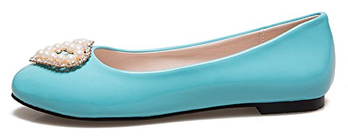 Sfnld Mujeres Sweet Round Toe Low Cut Pearls Slip On Mocasines Planos Zapatos Azul
