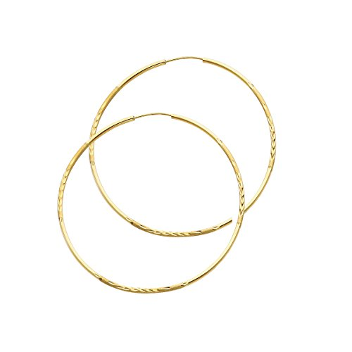 14k Yellow Gold 1.5mm Thickness Endless Diamond Cut Hoop Earrings - 8 Different Size Available (TGDJ - 145/ Diameter - 47MM) by Top Gold & Diamond Jewelry