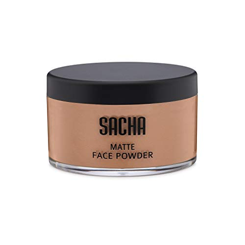 (Loose Face Powder by Sacha Cosmetics, Best Matte Finishing Powder for use alone or Setting your Makeup Foundation to give a Flawless Beautiful Finish, for All Skin Types, 1.25 oz, Perfect Bronze)