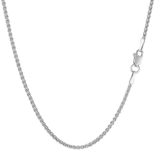 14K Yellow or White Gold 1.5mm Shiny Round Wheat Chain Necklace for Pendants and Charms with lobster-Claw Clasp (10