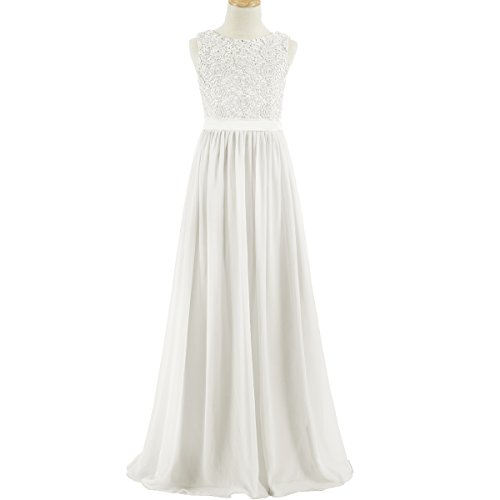 coop Neck Floor Length Chiffon Junior Bridesmaid Dress with Lace J16 Ivory (Ivory Long Line Lace)
