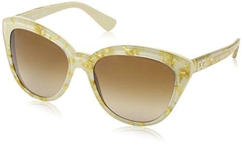 Dolce & Gabbana Sunglasses DG4250 274713 Leaf Gold On Ivory Brown Gradient 56 17 - Leaf Dolce Sunglasses Gold And Gabbana