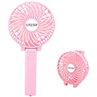 SuperShop Portable Mini Handheld USB Fan With Rechargeable 3.7V/1200mAh 18650 Battery, 3 Speed Adjustable,Internal Emergency Light (Pink)