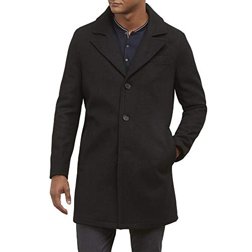 (Kenneth Cole New York Men's Single Breasted Wool Walker Coat, Black, Large)