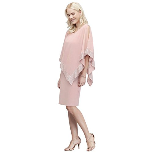 (Short Jersey Cape Mother of Bride/Groom Dress with Pleated Trim Style SL111176, Blush, 10)