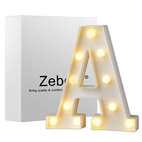 Zebery Led Letters Lights Alphabet Warm White LED Letter Light Up Alphabet Letter Lights for Bachelorette Party Wedding Receptions Holiday Home & Bath Bridal Bar Décor A (Letters Lighted Metal)