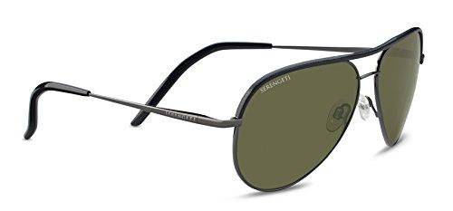 Serengeti Carrara Black Leather Polarized 555Nm, Shiny - Sunglasses Serengeti Lightweight