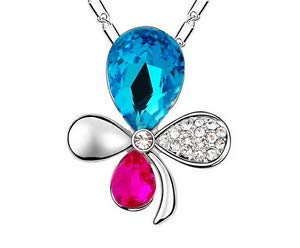 Fashion Womens Flower Blue Crystal Rhinestone Silver Chain Pendant Necklace -