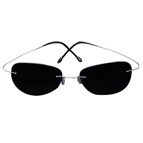 Zando Rimless Titanium UV400 Premium Polarized Sweatproof Anti-Static Sunglasses Silver Frame Grey - Sunglass Titanium