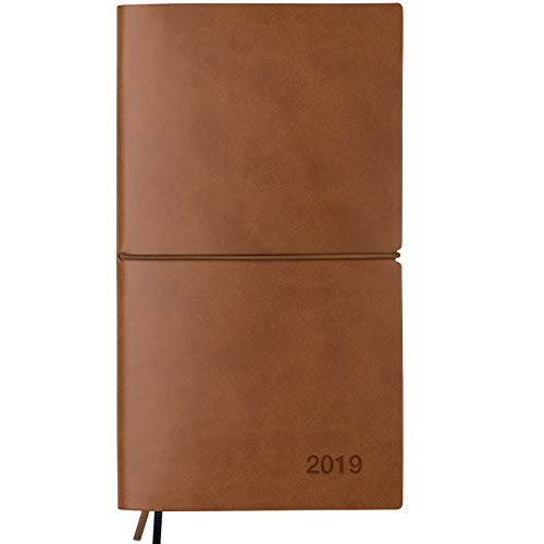 2019 Planner/Pocket Calendar: 14 Months (Nov 2018 - Dec 2019) Weekly, Monthly Calendars, Leather Material, Elastic Closure, Decorative Stitching, Page Finder Ribbons and Notes Pages (Brown/Black)