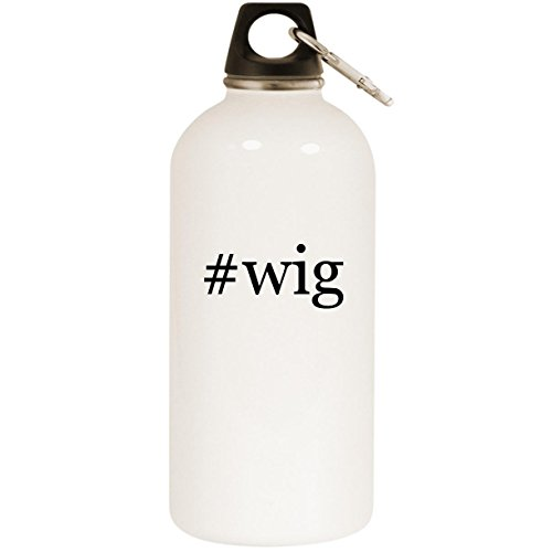 Molandra Products #Wig - White Hashtag 20oz Stainless Steel Water Bottle with Carabiner ()
