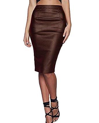 acheter en ligne c9689 b3ac0 PengGeng Jupe Femme Vintage Jupe en Cuir PU Taille Haute Jupe Crayon Jupe  De Partie