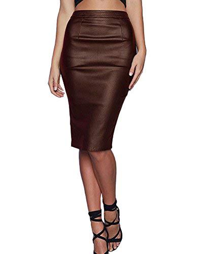 Faldas Midi Mujer Elegante Falda Polipiel Tubo Cintura Alta Slim ...