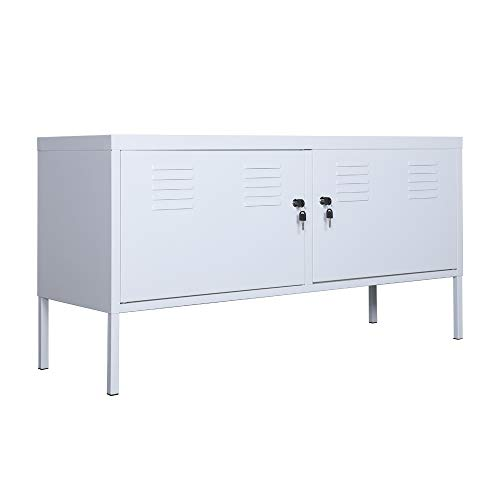 White Metal TV Cabinet with Lock, Self-Assembly 2-Layer Storage Locker,Large Space Organizer, It Can Be Used to Store Books, CD, Clothes, Shoes, Toys, Tools