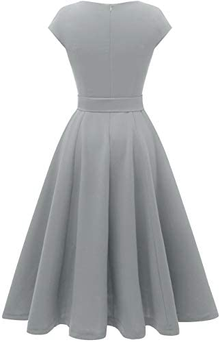 DRESSTELLS Women's Prom Tea Dress Vintage Swing Cocktail Party Dress with Cap-Sleeves 3