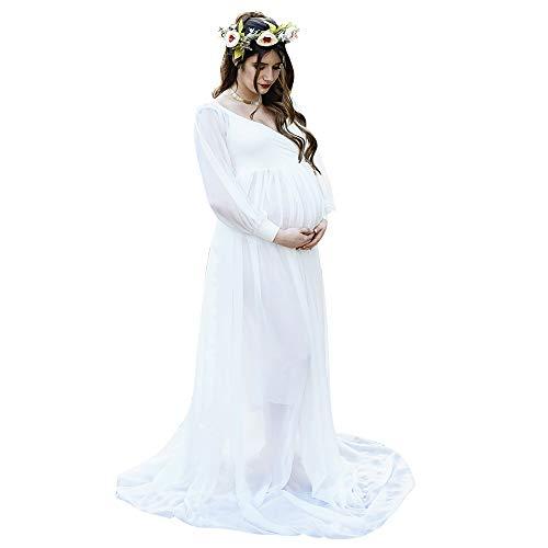 Ivory Elegant Chiffon Collection - Elegant Ivory Maternity Photoshoot Gown Baby Shower Session Dress Long Sleeve
