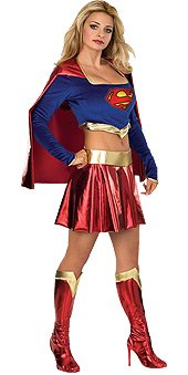 Secret Wishes Adult Supergirl Costume, Blue/Red, Large
