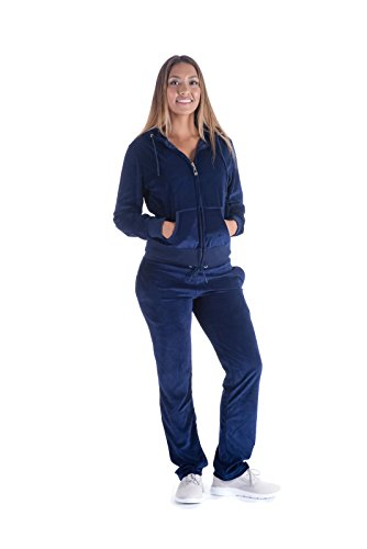 (Womens Jogging Suits Sets Velvet Tracksuit 2 Pieces Zip Up Hoodie and Sweatpant Set Navy XL)