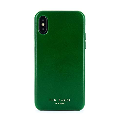 (Ted Baker [Real Leather Fashion MIDOCA Case for iPhone X/XS, Protective Cover for Professional Mens/Guys for iPhone X/XS - Dark Green)
