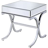 ACME Furniture 81197 Yuri End Table, Mirrored Top & Chrome Base