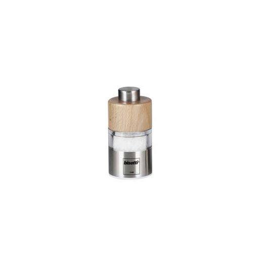 Brown Bisetti Orta Mini Acrylic Salt Mill in Natural Wood 2.5