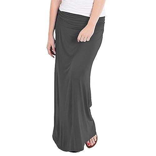 HyBrid Company Womens Maxi Skirt W Fold Over Waist Band KSK3097 Charcoal 2X