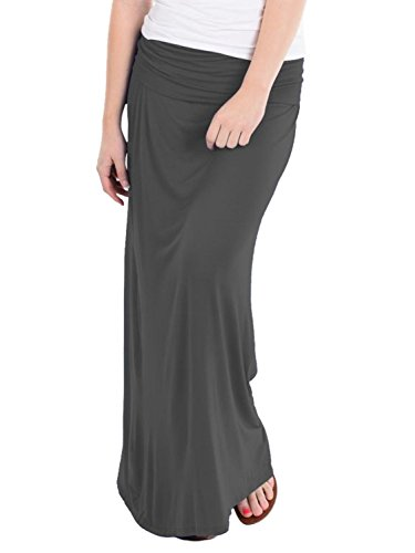 Hybrid & Company - Women's Maxi Skirt W/ Fold Over Waist Band - Made in the USA, Charcoal, Medium