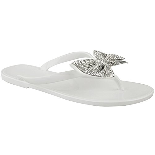 (Fashion Thirsty Womens Diamante Flat Jelly Sandals Summer Flip Flops Toe Post Size)