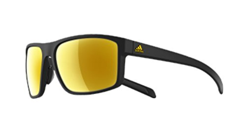 adidas Whipstart Non-Polarized Iridium Rectangular Sunglasses, Black Matte Gold, 61 mm