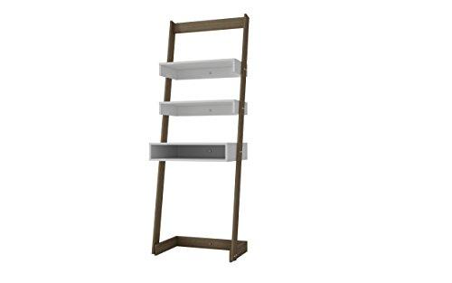 Manhattan Comfort Carpina Collection Modern Decorative Ladder Desk With Tabletop, Cubby And 2 High Shelves , White With Oak Frame - Ladder Shelf Desk
