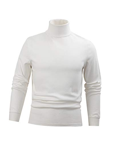 - WHITE Men's Combed Cotton Euro Design Ski Casual Turtleneck (Large)