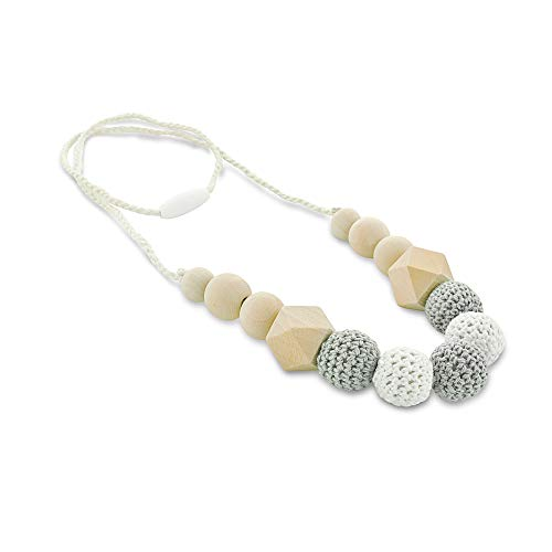 Jam Naturals 'Pebble' Baby Teething Necklace for mom to wear and for Baby to chew on. Safe Teething Jewelry. ECO Friendly. BPA Free. Breastfeeding Necklace