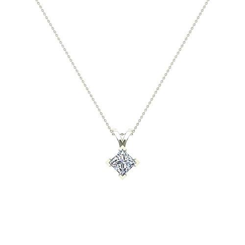 3/4 ct tw I I1 Natural Princess Cut Diamond Solitaire Pendant Necklace 14K White Gold - Princess 14k Natural Diamond Solitaire
