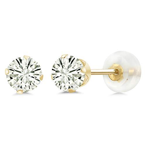 10K Yellow Gold Stud Earrings Forever Classic Round 1.00ct (DEW) Created Moissanite by Charles & Colvard