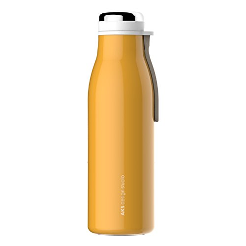 AKS Vacuum Insulated Stainless Steel Water Bottle, BPA Free Leak Proof Thermos Flask ( Yellow 12oz)