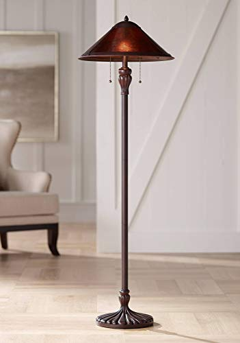 Capistrano Mission Floor Lamp Rustic Bronze Natural Mica Shade for Living Room Reading Bedroom Office - Regency Hill (Mission Torchiere Lamp)