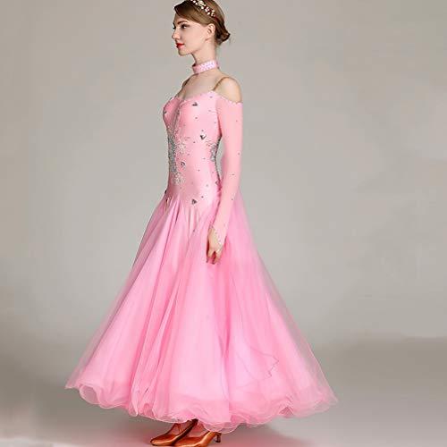 s Donne Valzer Abiti Pink Competizione Vestito Da Tuta 2018 Le Gonna Moderno Per Prestazione Ballo L Sala Wqwlf adulti Ballo W18qcxUHxf