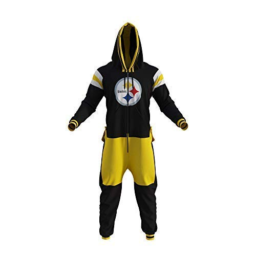 Pittsburgh Steelers NFL Adult Onesie Thick Polar Fleece Construction Twill & Embroidered Logo (Like on Official Jerseys) (Large)