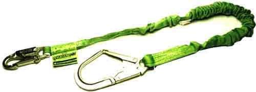 Miller Lanyard (Miller by Honeywell 219MRX/6FTGN 6-Feet Manyard II Shock-Absorbing Stretchable Web Lanyard with 1 Locking Snap Hook and Locking Rebar Hook,)