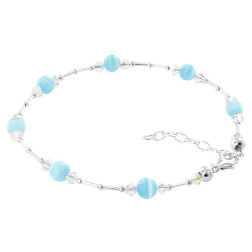 Gem Avenue Sterling Silver Swarovski Elements Cool Blue Cats Eye with Crystal Ankle Bracelet 9 to 10.5 inch Adjustable - Cat Sterling Silver Anklet